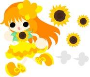 The illustration of sunflower girl Royalty Free Stock Photo