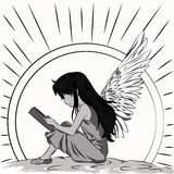 Illustration sunlit child-angel who reading a book Stock Photography