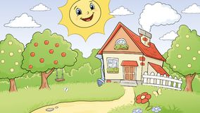 Sunny rural landscape. Illustration of a sunny rural landscape with an old village house Royalty Free Stock Photo
