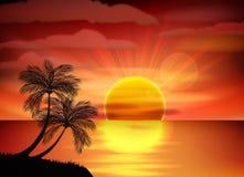 Illustration of sunrise on sea Stock Image