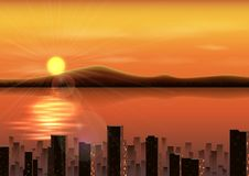 Sunset background with mountains and city in the river Royalty Free Stock Image