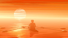 Illustration of sunset with rowers at sunset. Royalty Free Stock Image