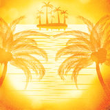 Illustration of sunset view in beach with palm tree Stock Photos