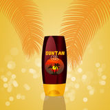 Illustration of suntan oil. In summer Royalty Free Stock Photography