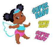 Illustration Super Hero Baby Girl multicultural. Royalty Free Stock Photography