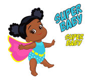 Illustration Super Hero Baby Girl multicultural. Royalty Free Stock Photos