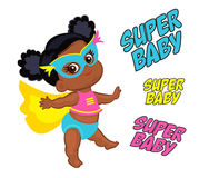 Illustration Super Hero Baby Girl multicultural. Stock Images