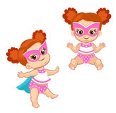 Illustration Super Hero Baby Girl in a standing and sitting position. Royalty Free Stock Photos