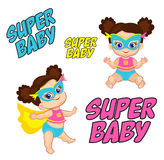 Illustration Super Hero Baby Girl in a standing and sitting position. Stock Photography