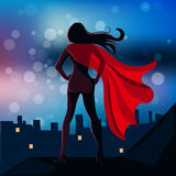 Illustration of Super Hero Girl in the fly Stock Photo