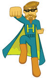 Illustration of a super hipster with superhero costume Royalty Free Stock Photography