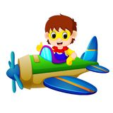 Superhero boy riding flying plane. Illustration of superhero boy riding flying plane Stock Image