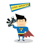 Illustration superman reporter in flat design isolated on white background. Vector Superhero reporter. Super live report Stock Images