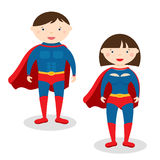 Illustration superman and superwoman Royalty Free Stock Images