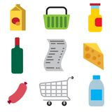 Supermarket foods icons. Illustration of supermarket food and drinks icon set vector illustration
