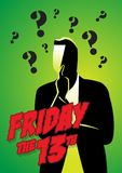 Friday the 13th. An illustration of superstitious businessman about friday the 13th Stock Photo