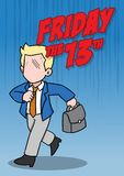 Friday the 13th and businessman. An illustration of superstitious businessman about friday the 13th Stock Image