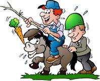 Illustration of an supervisor pushes a Donkey Stock Images