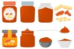 Illustration sur de grands différents types beurre d'ensemble coloré de thème d'arachide illustration stock