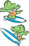 Illustration surfante d'alligator Photos stock