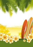 Illustration with surfboards Royalty Free Stock Photography