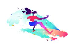 Illustration of a surfer girl. Vector illustration. Bright and h royalty free illustration