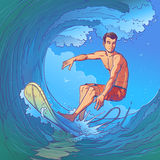 Illustration of a surfer Stock Images