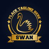 Swan icon design template. Golden swan and ribbon in round frame Stock Photos