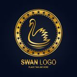 Swan icon design template. Golden swan and stars in round frame Royalty Free Stock Photo