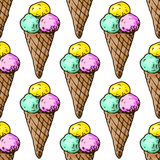 Illustration of sweets. Assorted ice cream. Happy holiday. Seamless pattern. Royalty Free Stock Photography