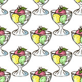 Illustration of sweets. Assorted ice cream. Happy holiday. Seamless pattern. Stock Photography