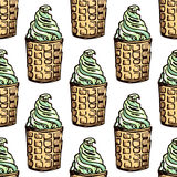 Illustration of sweets. Assorted ice cream. Happy holiday. Seamless pattern. Royalty Free Stock Photos