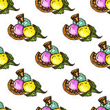 Illustration of sweets. Assorted ice cream. Happy holiday. Seamless pattern. Stock Photos
