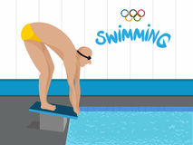 Illustration of Swimmer for Sports concept. Illustration of a Swimmer ready to swim for Sports concept, Can be used as Poster, Banner or Flyer design Royalty Free Stock Photos