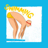 Illustration of Swimmer for Sports concept. Illustration of a Swimmer ready to swim for Sports concept, Can be used as Poster, Banner or Flyer design Stock Image