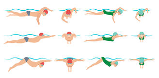 Illustration of swimming. Drawing vector. Royalty Free Stock Image