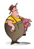 Swine breeder carry pink pig. Illustration of a swine breeder carry pink pig on isolated white background royalty free illustration