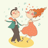 Illustration of swing dancing couple Stock Images