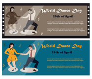 Illustration of the swing dancing couple for the World Dance Day Royalty Free Stock Photos