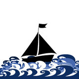 Illustration with sylized ship and waves Royalty Free Stock Photography