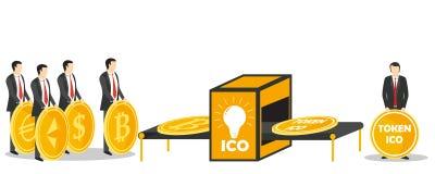 Illustration symbolique de vecteur de concept d'échange d'ICO Image stock