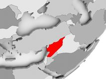 Syria in red on grey map. Illustration of Syria highlighted in red on grey globe. 3D illustration Royalty Free Stock Photo
