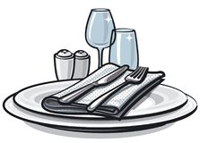 Table setting on table. Illustration of table setting with knife, fork and glasses on table stock illustration