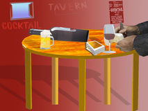 Illustration of a table of a tavern. Illustration of an interior of a  tavern with a table with beer and wine Stock Photos
