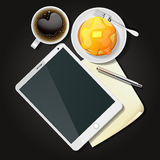 Illustration of tablet with black coffee and pancake Stock Photos