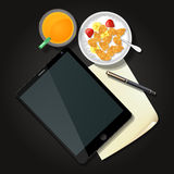 Illustration of tablet with cereal bowl and orange juice Royalty Free Stock Photos