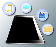 Illustration of tablet with symbols Stock Photos