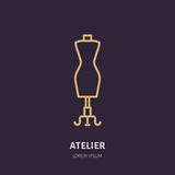 Illustration of tailor dummy, mannequin. Dress shop line logo. Vector flat sign for atelier Royalty Free Stock Image