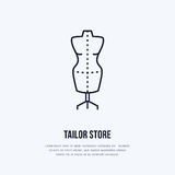 Illustration of tailor dummy, mannequin. Dress shop line logo. Vector flat sign for atelier Stock Photos