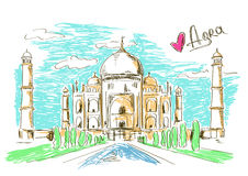 Illustration of Taj Mahal in Agra. Colorful sketch illustration of Taj Mahal in Agra, India Royalty Free Stock Photos